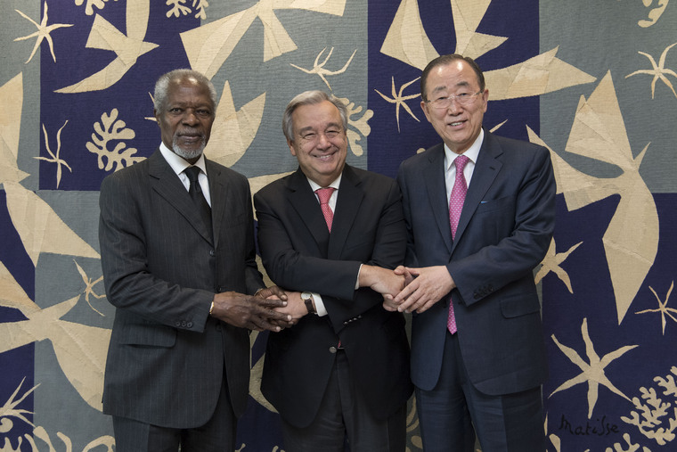 Secretary-General Meets with Two Former Secretaries-General