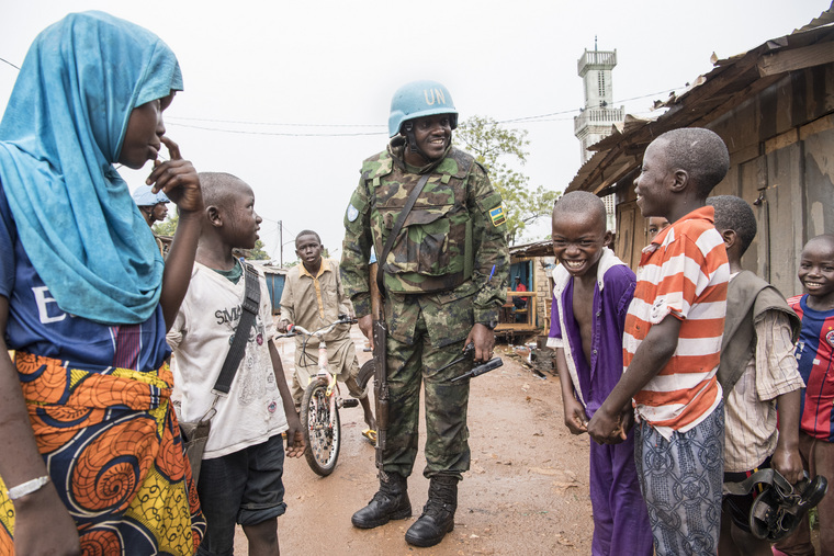 MINUSCA Peacekeepers Patrol PK5 Neighbourhood in Bangui, CAR