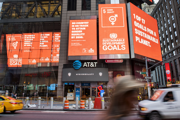SDGs Showcased on Billboards in Times Square, New York City