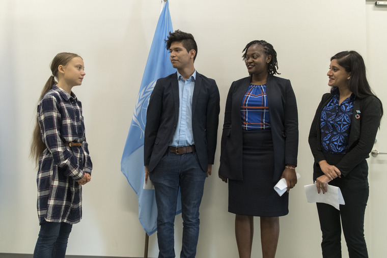Secretary-General Meets Greta Thunberg and Young Climate Activists