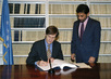 Representative of the Netherlands Signs Convention on the Law of the Non-Navigational Uses of International Watercourses