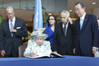 Queen Elizabeth II of United Kingdom Signs Guestbook at UN Headquarters 1.1302581