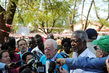 Former U.S. President Jimmy Carter and Former UN Secretary-General Annan Brief Press at South Sudan Polling Centre 12.201163