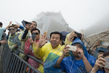 Tourists at World Heritage Site Mount Taishan
