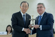 UN Receives Olympic Cup Award at Olympic Flame Ceremony, Geneva 1.0