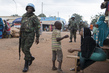 MINUSCA Peacekeepers Patrol PK5 Neighbourhood in Bangui, CAR 3.9611368