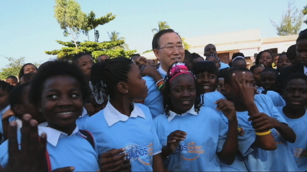 Selected frame from video story MOZAMBIQUE / BAN KI-MOON DAY 2