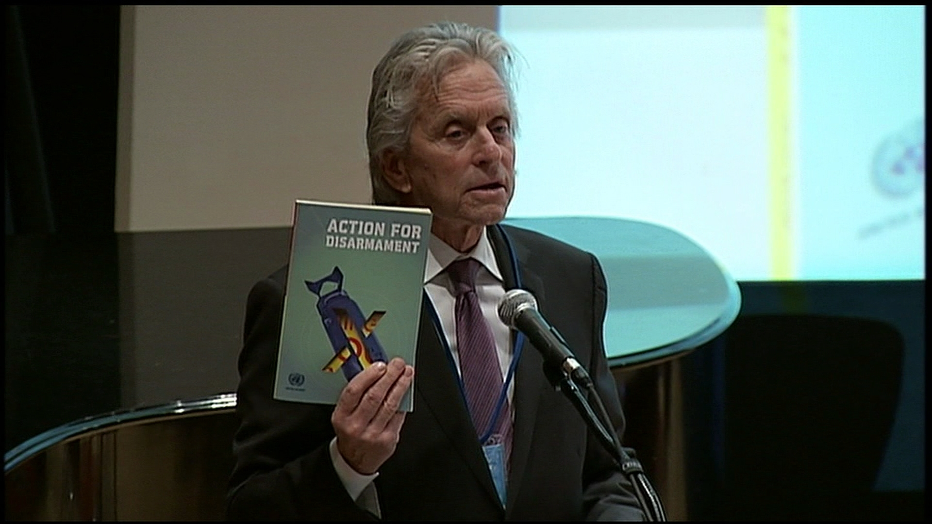Selected frame from video story UN / MICHAEL DOUGLAS DISARMAMENT