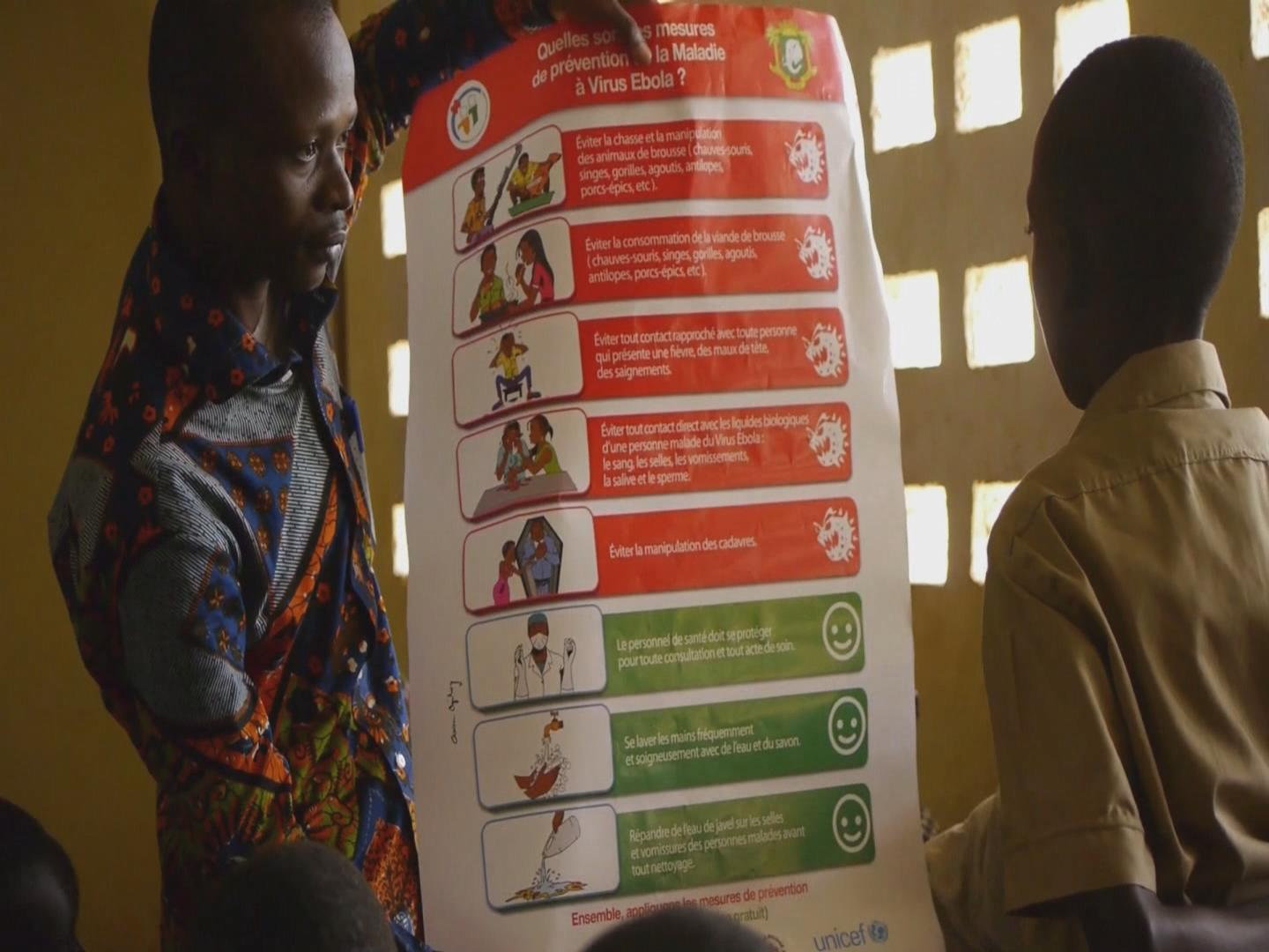 Selected frame from video story IVORY COAST / EBOLA PREVENTION
