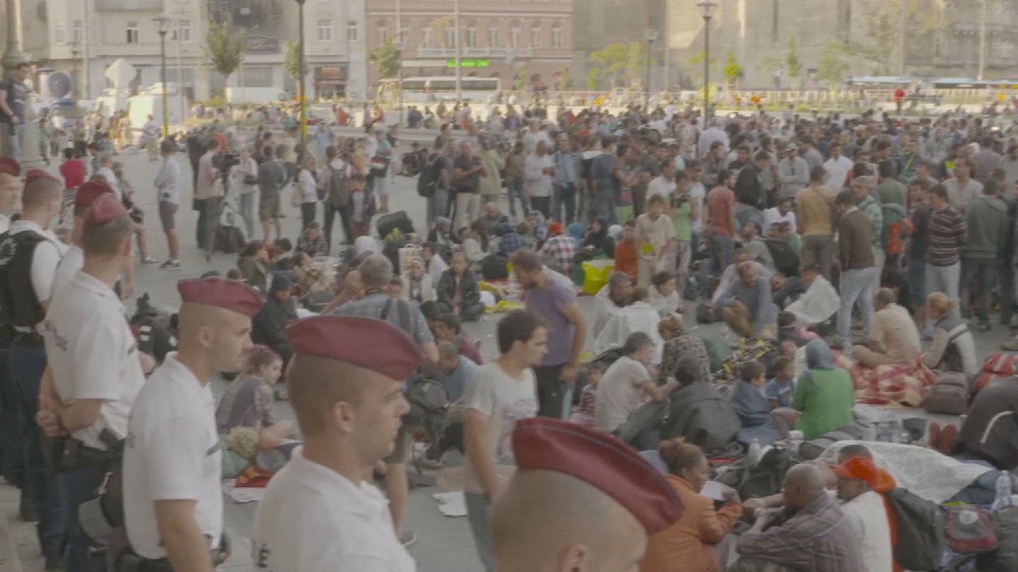Selected frame from video story HUNGARY / REFUGEES TRAIN STATION