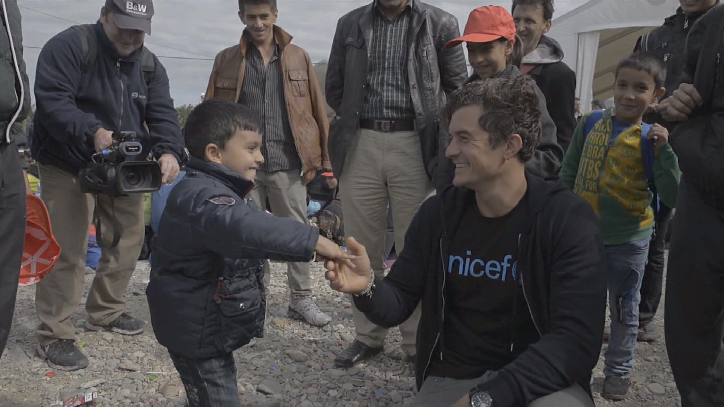 Selected frame from video story GEVGELIJA / ORLANDO BLOOM REFUGEES