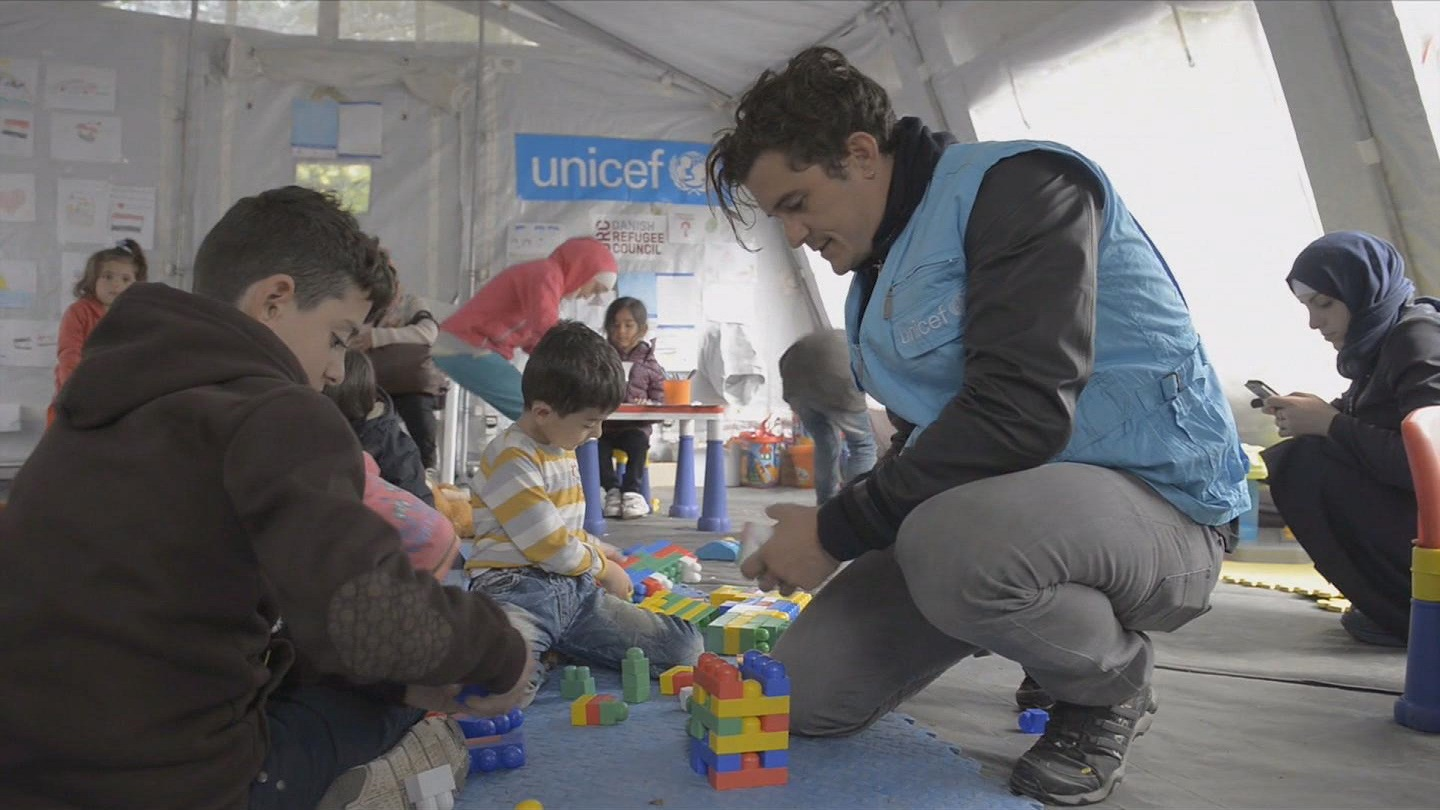 Selected frame from video story SERBIA / ORLANDO BLOOM REFUGEES