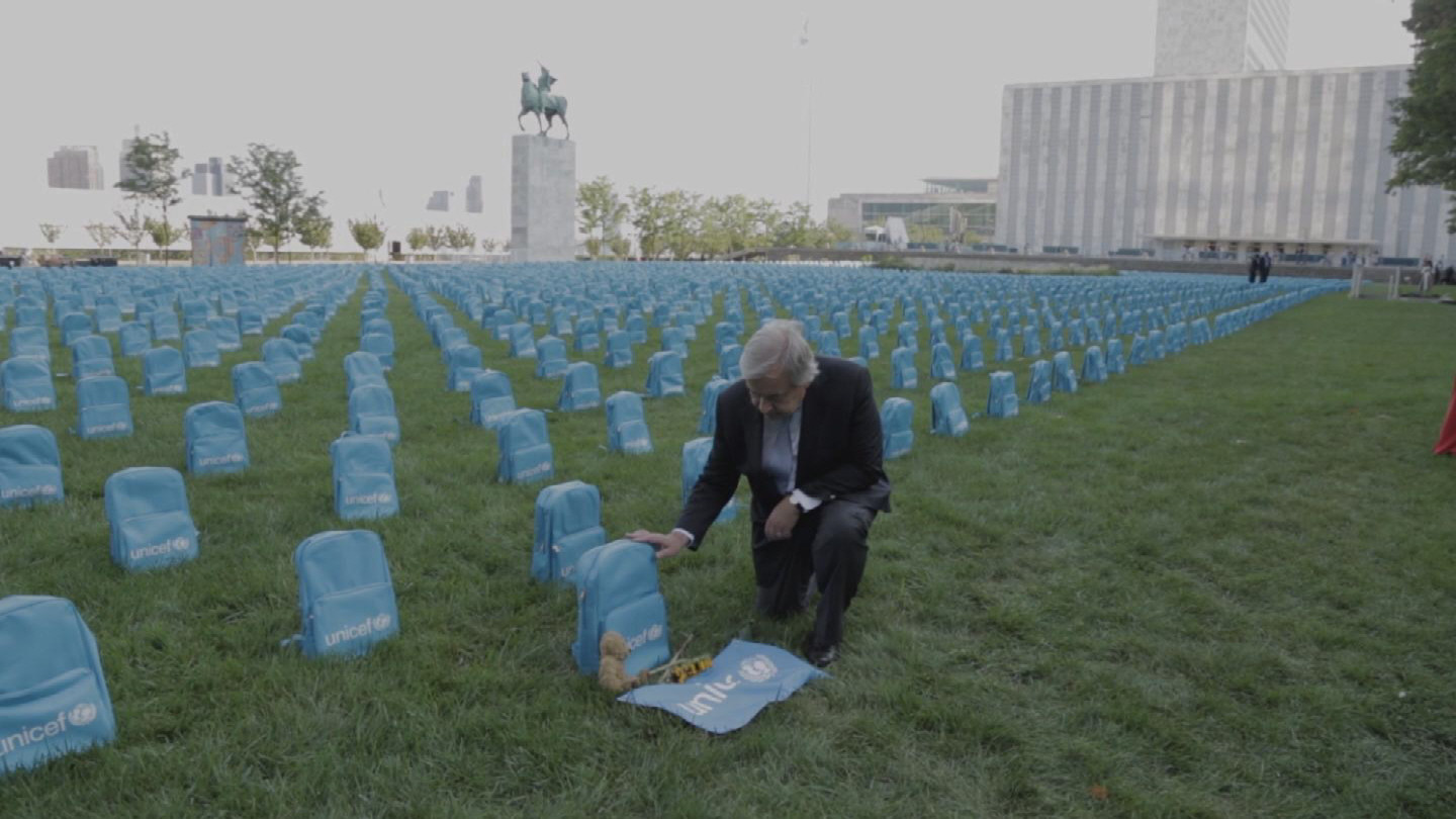 UN  GUTERRES UNICEF BACKPACKS